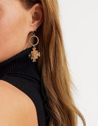Liars & Lovers ornate cross earrings in gold with black gem