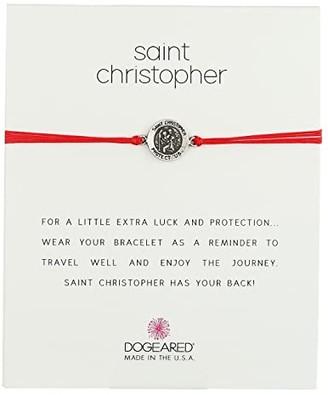 Dogeared St. Christopher On Red Cord Bracelet (Sterling Silver/Red) Bracelet