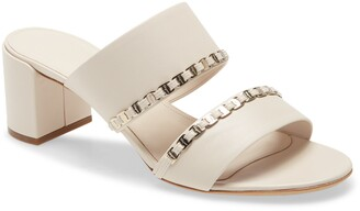 Salvatore Ferragamo Trabia Chain Block Heel Slide Sandal