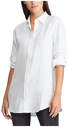 Lauren Ralph Lauren Roll-Tab-Sleeve Linen Shirt (Bright Fuchsia) Women's Clothing