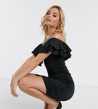 ASOS DESIGN Petite off shoulder bardot ruffle mini dress in black