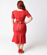 Stop Staring Plus Size 1940s Red & Dotted Short Sleeve Argentine Stretch Wiggle Dress