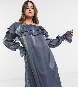 ELVI Plus metallic bardot dress in silver