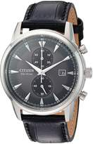 Citizen Men's 'Eco-Drive' Quartz Stainless Steel and Leather Dress Watch, Color:Black (Model: CA7000-04H)