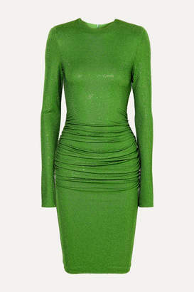 Alexandre Vauthier Ruched Crystal-embellished Stretch-jersey Dress - Green