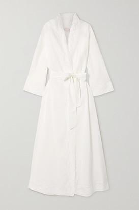 Loretta Caponi Lace-trimmed Cotton-voile Robe - White