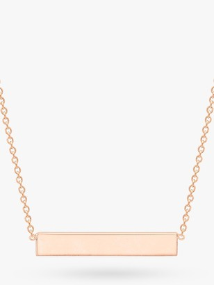 IBB Personalised 9ct Rose Gold Horizontal Bar Initial Pendant Necklace