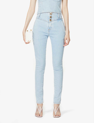 Alessandra Rich Button-detail skinny high-rise jeans