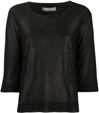 D-Exterior Metallic 3/4 Sleeve Jumper