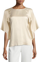 Lafayette 148 New York Yara Chain-Trim Artistry Silk Blouse, Gold
