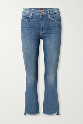 Mother The Insider Frayed Cropped High-rise Flared Jeans - Dark denim