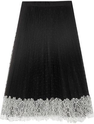 RED Valentino Pleated Lace-trimmed Point D'esprit Skirt