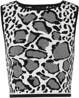 Ohne Titel Reversible leopard-print stretch jacquard-knit top