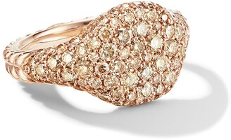 David Yurman 18kt rose gold mini Chevron Pave diamond pinky ring