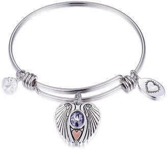 Footnotes Friends Are Angels That Lift Us Up When We Have Forgotten How To Fly Purple Pure Silver Over Brass Round Bangle Bracelet