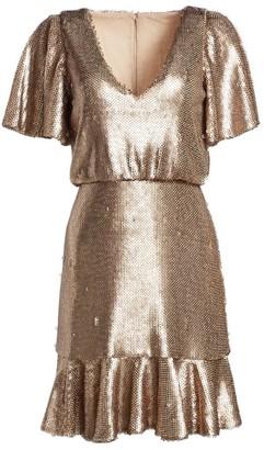 ML Monique Lhuillier Sequin Popover Dress