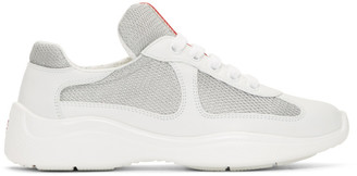 Prada White Leather and Mesh Sneakers