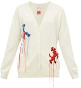 Loewe Crochet Animals V-neck Wool Cardigan - Womens - Cream