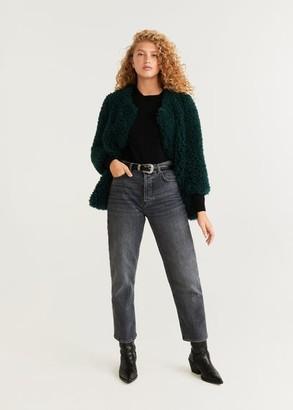 MANGO Fur bouclA coat green - XS - Women