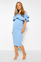 boohoo Maternity Lauren Ruffle Off The Shoulder Midi Dress