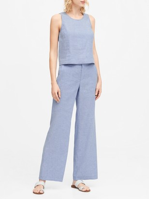 Banana Republic High-Rise Wide-Leg Linen-Cotton Pant