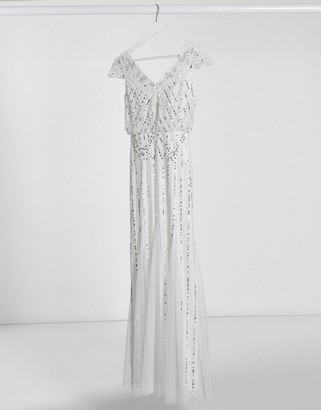 Frock and Frill embellished v neck maxi dress in ivory