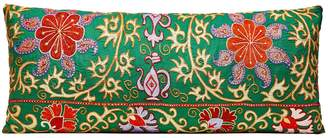 Heritage Geneve Very Long Hand Embroidered Green Suzani Cushion With Ikat Reverse
