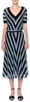 Missoni V-Neck Short-Sleeve Chevron Woven Midi Dress