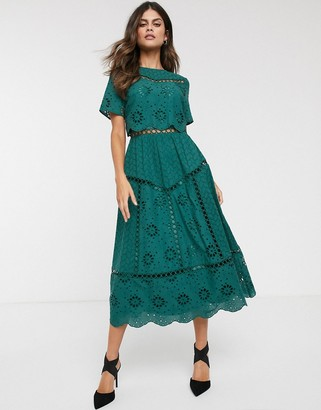 Asos Design DESIGN embroidered double layer midi dress-Green
