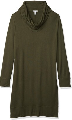 Daily Ritual Amazon Brand Women's Supersoft Terry Long-Sleeve Cowl Neck Dress