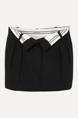Alexander Wang Fold-over Wool Mini Skirt - Black