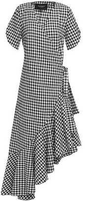 Paper London Colorado Asymmetric Wrap-effect Gingham Cotton-blend Seersucker Midi Dress