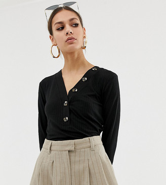 NA-KD ribbed cropped top with button detail in black