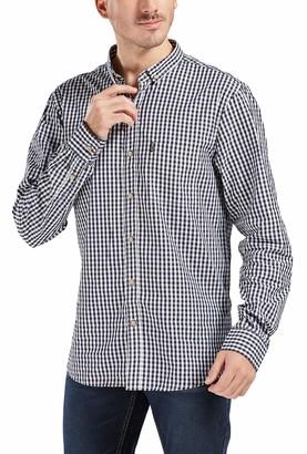 Trimthread Men's Classic Regular Fit Button-Down Collar Long Sleeve Check Plaid Dress Shirt (Small
