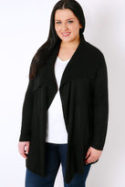 Yours Clothing Black Belted Knit Cardigan With Ribbed Collar