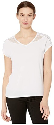 Tribal Cap Sleeve Top w/ Knit Back (White) Women's Clothing