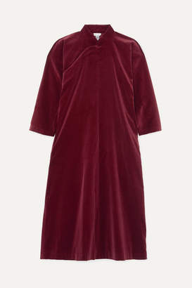 Comme des Garcons Cotton-velvet Midi Dress - Burgundy
