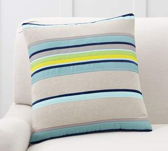 Pottery Barn Striped Velvet Ribbon Pillow Cover