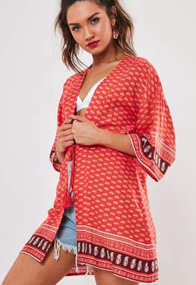 Missguided Red Mixed Print Tie Front Kimono
