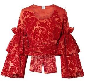Rosie Assoulin Tie-front Devore Silk-organza Top