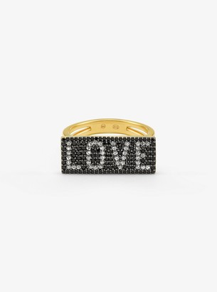 Michael Kors 14K Gold-Plated Sterling Silver Pave Love Ring