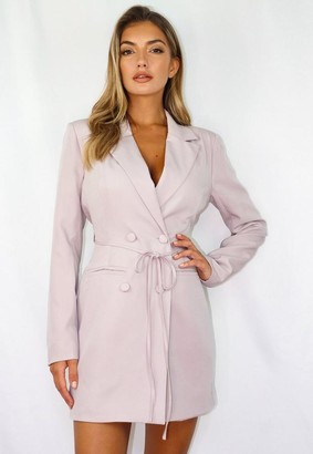 Missguided Lilac Tie Waist Blazer Mini Dress