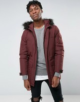 Asos Parka Jacket With Faux Fur Trim In Burgundy