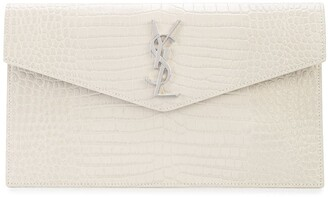Saint Laurent Croc-Effect Monogram Clutch Bag