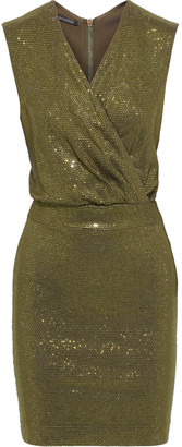Balmain Wrap-effect Crystal-embellished Jersey Mini Dress