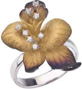 Ax Jewelry Sterling Silver and Cubic Zirconia Flower Ring