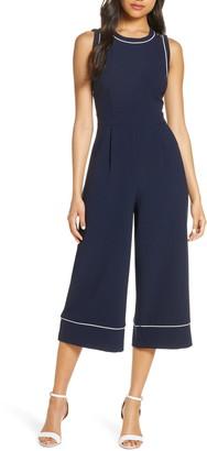Eliza J Piped Crepe Crop Jumpsuit