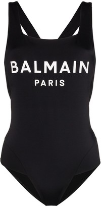 Balmain Logo Print Cross-Back Swimsuit