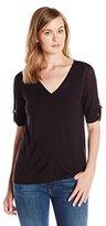 Calvin Klein Women's Short Sleeve V-Neck Sweater