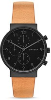 Skagen Ancher Chronograph Leather Strap Watch, 40mm